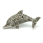 Estate Ladies Silver 925 Marcasite Dolphin Pin Brooch