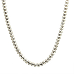 Ladies Vintage Classic Estate 925 Silver Bead Ball Necklace Chain - 24 inch