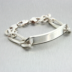 Estate Men's 925 Silver Big Poppa ID 8 1/2 Inch Lobster Claw Clasp Bracelet