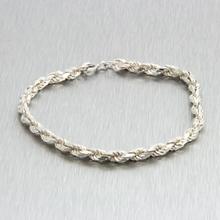 "Estate Sterling Silver 925 Rope Spring Ring Clasp 7"" Bracelet"