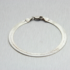 "Estate 925 Silver Flat Snake 7"" Lobster Claw Clasp Bracelet"