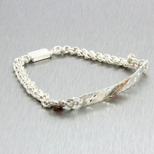 Ladies Classic Estate 925 Sterling Silver Tri-Color Engraving ID Band Bracelet