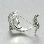 Ladies Vintage Retro Antique 925 Silver Dolphin Marcasite Gemstone Pin Brooch