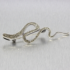 Estate Ladies Silver 925 Marcasite Snake Pin Brooch