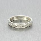 Estate Men's 925 Silver Ring Band Size 11