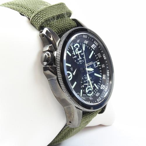mens seiko prospex solar chronograph black dial green band watch rh 777jewelry com Seiko Men's Watches Seiko SSC