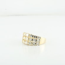 Stunning 3.15CTW Three Row Round Diamond Ladies 14K Yellow Gold Jewelry Ring