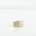 Stunning 3.15CTW Three Row Round Diamond Ladies 14K Yellow Gold Jewelry Ring