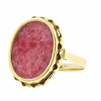 Ladies Vintage Classic Estate 14K Yellow Gold Red Marble Cocktail Statement Ring