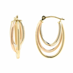 Ladies Vintage Classic Estate 14K Yellow, White & Rose Gold SaddleBack Earrings