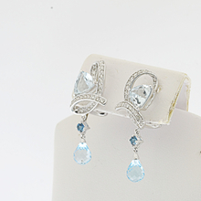 Graceful Aqua Blue Crystal & Diamond 14K WG Ladies Dangle Omega Lock Earrings
