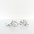 Graceful Aqua Blue Crystal & Diamond 14K WG Ladies Dangle Omega Lock Earrings