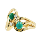 Estate Vintage Ladies 14K Yellow Gold Nephrite Cabochon Diamond Cocktail Ring