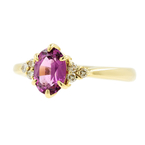 Vintage Ladies 18K Yellow Gold Amethyst Diamond 0.55CTW Right Hand Ring
