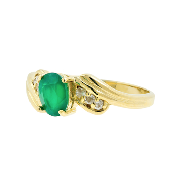 Ladies Vintage Estate 14K Yellow Gold Emerald Gemstone & Diamond May Birthstone Ring