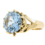 Vintage Classic Estate Ladies 14K Yellow Gold Blue Round Topaz Cocktail Ring