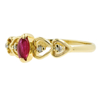 Charming Vintage Estate Ladies 14K Yellow Gold Red Spinel & Diamond Heart Ring