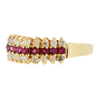 Vintage Estate Ladies 14K Yellow Gold Diamond Red Spinel 0.72CTW Ring