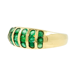 Estate Ladies 14K Yellow Gold Round Cut Emerald Gemstone Cocktail Ring Band