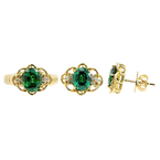 Ladies Vintage Estate 14K Yellow Gold Diamond & Green Tourmaline Ring and Earrings Jewelry Set