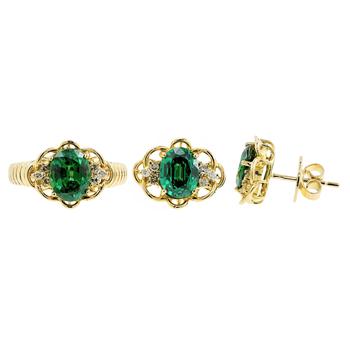 Ladies Vintage Estate 14K Yellow Gold Diamond & Green Tourmaline Ring and Earrings Jewelry Set
