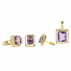 Estate 14K Yellow Gold Diamond & Amethyst Ring Earrings Pendant 3PC Jewelry Set