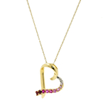 "Estate Ladies 10K Yellow Gold Pink Red Topaz Pendant 18"" Chain Necklace"