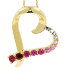 """Estate Ladies 10K Yellow Gold Pink Red Topaz Pendant 18"""" Chain Necklace"""