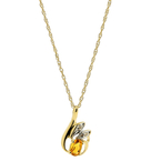 "Estate Ladies 10K Yellow Gold Citrine Diamond Pendant 18"" Chain Necklace"