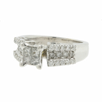 Classic Estate 18K White Gold Princess Cut Diamond Engagement Ring - 0.85CTW