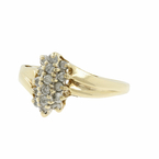 Vintage Estate 10K Yellow Gold Diamond 0.18CTW Cocktail Ring
