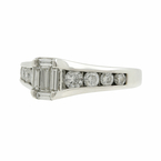 Ladies Classic Estate 14K White Gold Emerald Cut Diamond Engagement Ring 0.95CTW