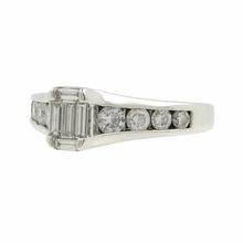 Ladies Classic Estate 14K White Gold Emerald Cut Diamond Engagement Ring 0.95CTW