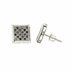 Estate Vintage 10K White Gold Black Diamond 0.72CTW Screw Back Stud Earrings