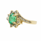 Vintage Estate 14K Yellow Gold Emerald & Diamond 0.72CTW Cocktail Ring