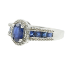 Estate Vintage Ladies 14K Yellow Gold Diamond Blue Sapphire Ring