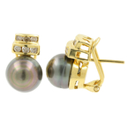 Classic Ladies 18K Yellow Gold Tahitian Pearl Diamond French Back Earrings