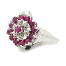Ladies Classic Estate 10K White Gold Red Ruby & Diamond Bypass Cocktail Ring