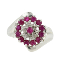 Stunning Classic Estate Ladies 10K White Gold Red Ruby & Diamond Cocktail Ring