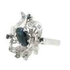 Estate Vintage Retro Ladies 8K White Gold Sapphire Diamond Cocktail Ring