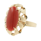 Vintage Estate 14K Yellow Gold Oval Cabochon Cut Red Jade Ring