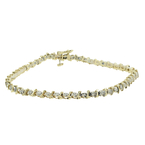 Estate Ladies 14K Yellow Gold Diamond 0.94CTW Tennis 8 Inch Bracelet