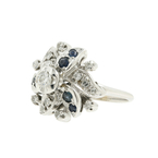 Estate Classic Ladies 14K White Gold Sapphire Diamond Cocktail Ring