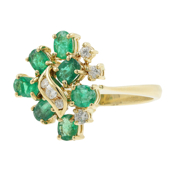 Ladies Vintage Estate 14K Yellow Gold Emerald Gemstone & Diamond Cocktail Ring