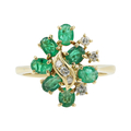 Vintage Estate 14K Yellow Gold Emerald & Diamond 1.20CTW Cocktail Ring