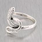 Ladies Vintage Retro Estate 925 Silver Cobra Snake-Shaped Ring - Size 8