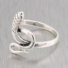 Ladies Vintage Retro Estate 925 Silver Cobra Snake-Shaped Ring - Size 8