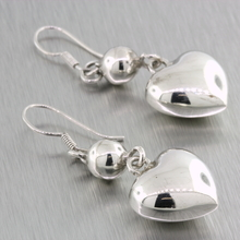 Ladies Vintage Retro Estate 925 Silver Heart-Shaped Fish Hook Drop Earrings