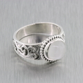 Ladies Vintage Retro Estate 925 Silver Cabochon Gemstone Cocktail Ring - Size 7