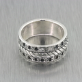 Ladies Vintage Retro Estate Ladies 925 Silver Rope Design Ring Band Size 5 1/2